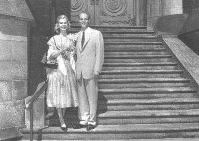 Ann and Tru on their wedding day on the steps of the Salt Lake Temple