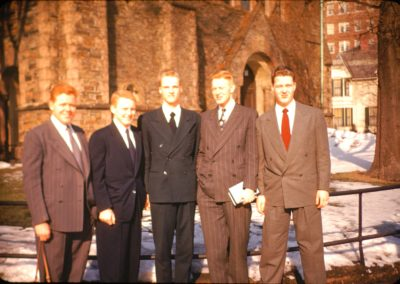 TGM and four NE missionaries in front of stone church - Disk 2 Slides 065 copy