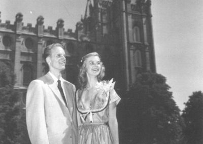 Truman and Ann on their wedding day with the Salt Lake Temple in the background